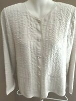 EILEEN FISHER Size PM Cream Silk Jacket Triple Layers Long Sleeve LOVELY 10 12
