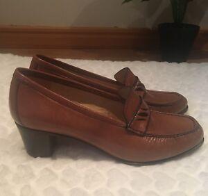 GARDENIA Women's Retro Vintage Brown Real Leather Shoes UK 6  / EU 40.5 NEW