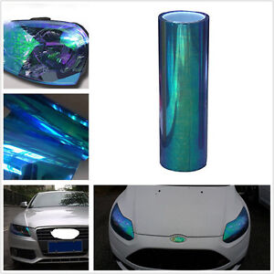 New 78*12in DIY Chameleon Colorful Blue Car Headlight Fog Lamp Vinyl Tint Sheet