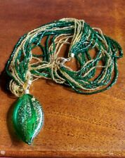 Stunning Hand Made Green & Gold Glass Seed Bead Necklace With Green Leaf Pendant
