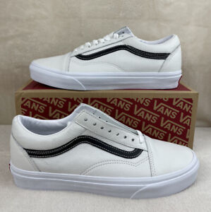 Vans Leather Pop Old Skool Leather Shoes Mens Size 8.5 Womens 10 (White/Black)