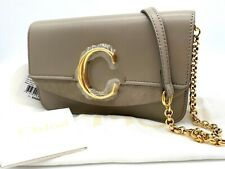 Auth NWT $1190 Chloe C Clutch With Chain Mini Shiny Calf Leather Shoulder Bag