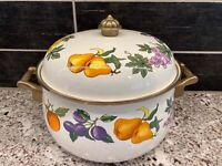 Vtg Essence Tabletops Unlimited  8 Qt Enamel Stockpot & Lid Kensington Garden