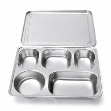 Stainless Steel Lunchbox Divided Lunch Food Serving Bento Box Tray & Cover Set