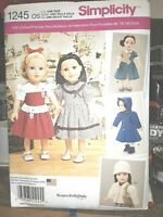 """18"""" DOLL CLOTHES SEWING PATTERN Simplicity 1245 NEW Keepers Dolly Duds Design"""