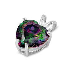 .925 Sterling Silver Heart pendant Rainbow Mystic Topaz Love Ladies Charm New 98