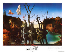Salvador Dali Swans Reflecting Elephants White Border Art Print P... Mini Poster
