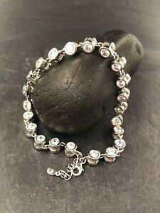 CUBIC ZIRCONIA ANKLET set in .925 STERLING SILVER FAST FREE SHIPPING !!