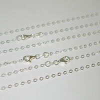 3 pieces 925 Sterling SILVER 2.5x3.5mm FLAT CABLE Chain Necklaces Wholesale Lot