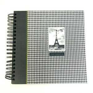Photo Album Paris Eiffel Tower Black White Check Gingham Travel Photography