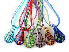Wholesale Lots 6Pcs Drop Line Murano Glass Pendant Silk 3+1 Necklace FREE