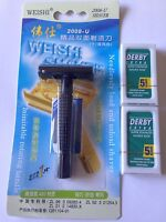 NEW Traditional Double Edge Safety Razor Polycarbonate Black Weishi + 10 Blades