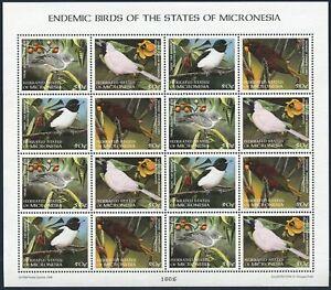 Micronesia 299 ad sheet,MNH.Michel 640-643 bogen. Native Birds:White-eye,Monarch