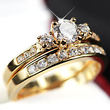 24K GOLD FILLED R223 TRILOGY SIMULATED DIAMOND WEDDING ETERNITY WOMENS RINGS SET