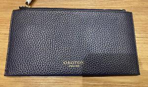 Oroton Navy Zip Slim Pouch New Leather