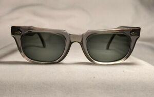 Vintage American Optical Eyeglasses Sunglasses 5 3/4 Gray Plastic Horn 50s JFK