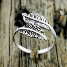 Sterling Silver adjustable double feather band Ring