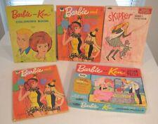 Vintage Barbie Ken Skipper Doll Lot 4 Coloring Books 1 Cardboard Puzzle