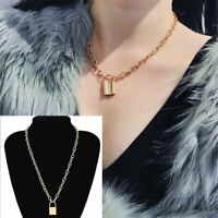 Boho Jewelry Long Chain PadLock Pendant Necklace Punk Choker Collar Statement