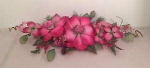 "26"" Burgundy Silk Flower Magnolia Swag Home Wedding Centerpiece Decor"