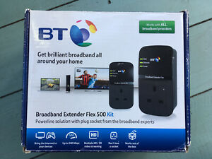 BT Broadband Extender Flex 500 Kit Powerline Adapter 500mbps Plus Extra Extender
