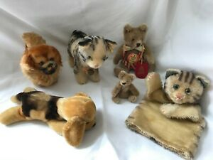 Vintage Steiff Stuffed Animals Lot of 6 from the 1960's with Bears, Dog, Cats