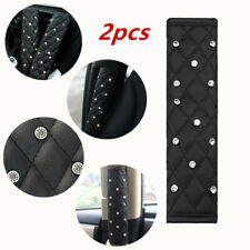2Pcs Car Dazzling Diamond Leather AutoSeat Belt Cover Shoulder Pads Black Soft
