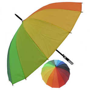 Rain Sun UV Protection Umbrella Lg Canopy Windproof Rainbow