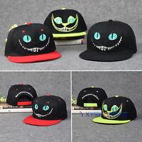 Damen Herren Cheshire-Katze Snapback Baseball Cap Mütze Hiphop Hut Kappe Basecap