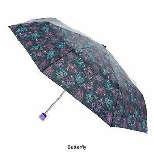 "Purple Blue Butterfly Garden Multi Color Umbrella Big42"" Width High Gloss Handle"