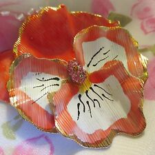 Vintage Lisner Enamel on Gold-tone Pansy Peach & White Flower Brooch Jewelry