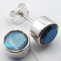 2.4 Grams Post Ear Jewelery ! BLUE FIRE LABRADORITE Earrings 0.8 CM 925 Silver