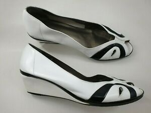 Van Dal size 7 D black / white leather peep toe wedge heel vintage court shoes