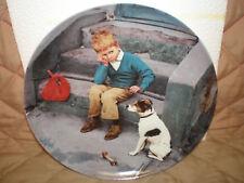 """NOS - Bing & Grondahl Copenhagen Porcelain Plate """"Boy with Dog"""" by Kurt Ard"""