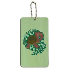 Turtle Friends Call Me Speed The Swan Princess Wood Luggage Card Carry-On ID Tag