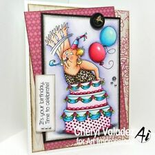 Granny jumping out of  cake 2 pc  L@@k@examples ART IMPRESSIONS RUBBER STAMPS
