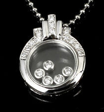 Sterling Silver Cubiz Zirconia Glass Pendant Necklace 5 Moving Cz Inside AUST