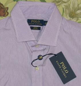 $145 Mens Polo RALPH LAUREN Purple Striped Longsleeve Button Down Shirt 16 NWT
