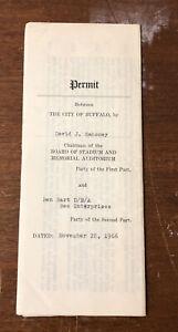 VERY RARE 1966 James Brown Concert Original Permit Buffalo Memorial Auditorium