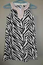 Gymboree Wild For Zebra Shift Dress White & Black Striped Size 8 EUC worn 1 time