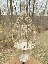 Metal Teardrop Shaped Bird Cage Pedestal Stand Wire Bird Cage For Use Or Decor