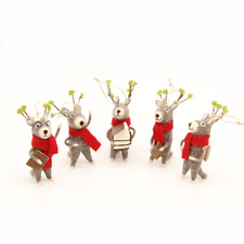Christmas Caroling Reindeers - 5 pc set - Holiday Ornament Christmas gifts