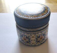 Brighton Bella Limone Mini Jewelry case-round -ring case- blue yellow zipper