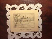 Antique Card c 1929 Christmas Mount Vernon Virginia President Washington Etching