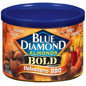 ALMONDS HABANERO & BBQ Blue Diamond BOLD INTENSE Flavor (6 oz x 1 can) FREE Ship
