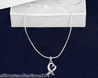 Heart Silver Ribbon Necklace Cancer Awareness Support Generic Love New Gift Box