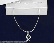 Heart Silver Ribbon Necklace Cancer Awareness Support Generic Love New in Gift B