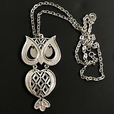 Vintage Owl Necklace Silver Tone Large Pendant Chain Cutouts Dangling Eyes