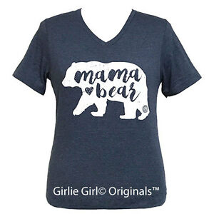 "Girlie Girl Originals ""Mama Bear"" Heather Navy V-Neck Bella Canvas T-Shirt"