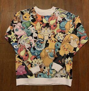 Rare Pokemon Nintendo All Over Print Crewneck Sweater Pullover Pikachu Small S